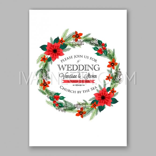Poinsettia Wedding Invitation Sample Card Beautiful Winter Floral – Unique Christmas Party Invitations