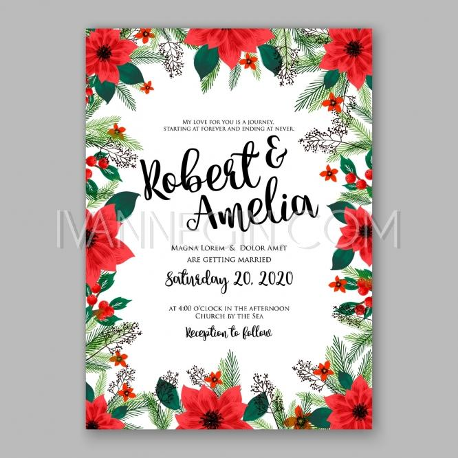 Свадьба - Poinsettia Wedding Invitation sample card beautiful winter floral ornament Christmas Party wreath - Unique vector illustrations, christmas cards, wedding invitations, images and photos by Ivan Negin