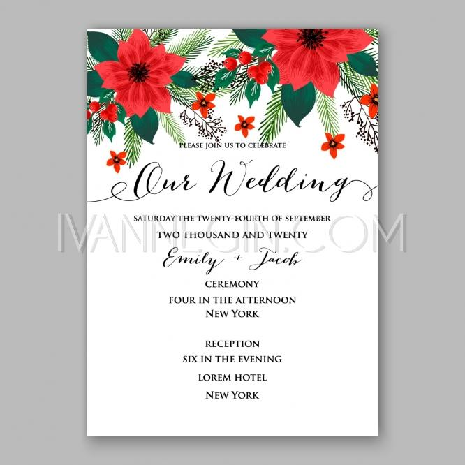 Poinsettia wedding invitation sample card beautiful winter floral poinsettia wedding invitation sample card beautiful winter floral ornament christmas party wreath unique vector illustrations christmas cards m4hsunfo