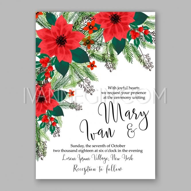 Poinsettia Wedding Invitation Sample Card Beautiful Winter Floral Ornament  Christmas Party Wreath   Unique Vector Illustrations, Christmas Cards, ...