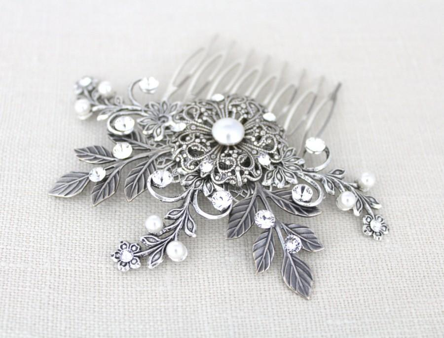 زفاف - Bridal hair comb, Wedding hair comb, Bridal headpiece, Rhinestone hair comb, Bridal hair vine, Leaf hair comb, Swarovski crystal hair comb