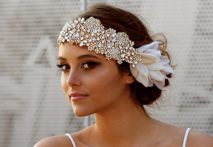 زفاف - The Original Crystal Bridal Hair Bandeau- Carey