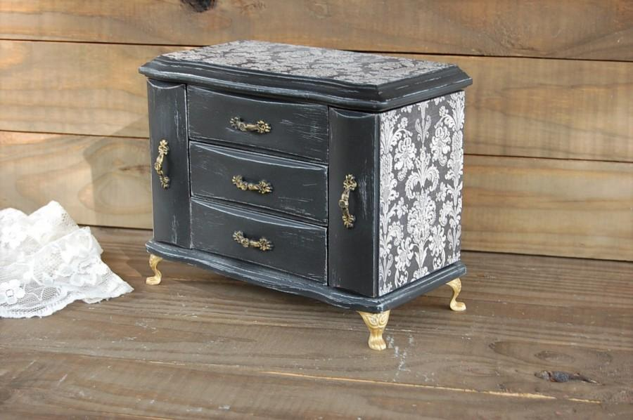 Jewelry Box, Music Box, Jewelry Armoire, Shabby Chic, Black, Gold, Damask,  French, Decoupage, Hand Painted, Distressed, Rustic, Upcycled