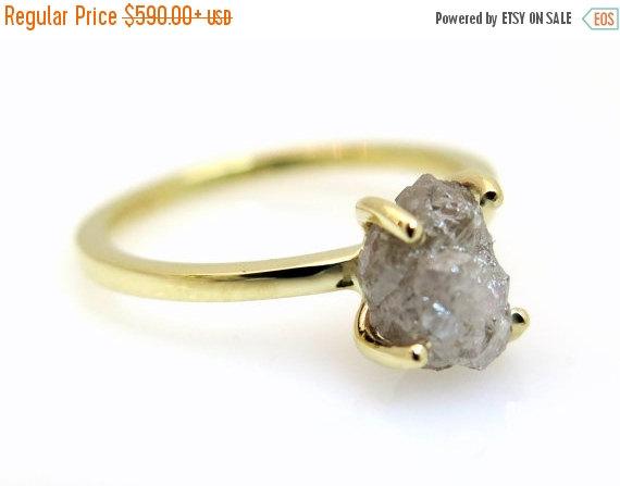 On Raw Stone Ring Diamond Engagement Rough Uncut Grey Unique Diam