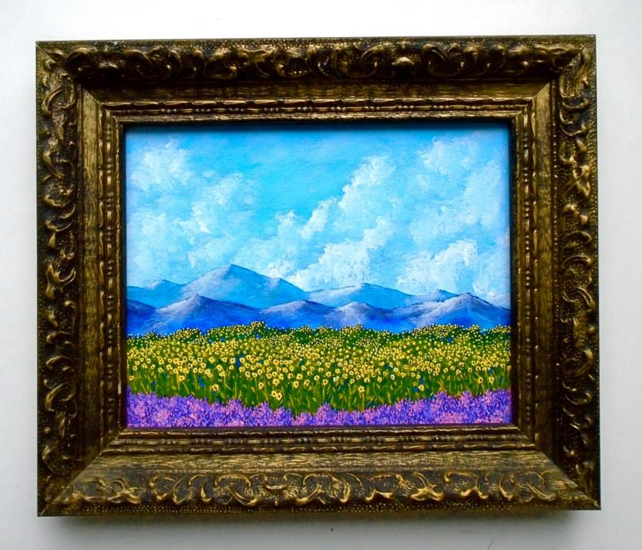 """Свадьба - Sunflowers and Lavender In Provence France (ORIGINAL ACRYLIC PAINTING) 8"""" x 10"""" in a vintage frame by Mike Kraus"""