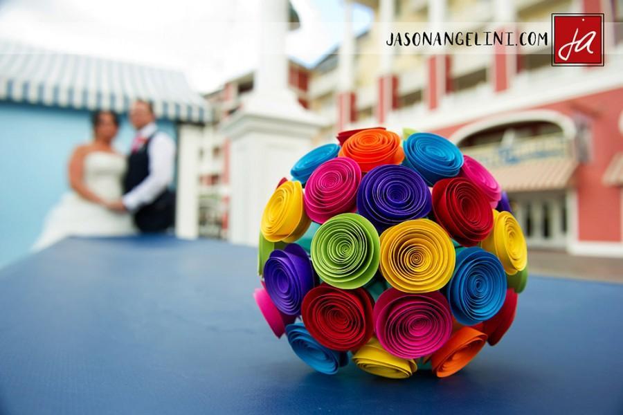 Mariage - Bridal Bouquet - Paper Wedding Bouquet - Alternative Wedding Bouquet - Rose Wedding Bouquet  - Colorful Bouquet - Paper Flower Bouquet