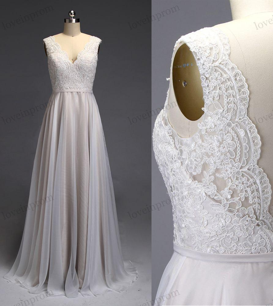 Ivory lace wedding dress v back open bridal gown chiffon for V back wedding dress