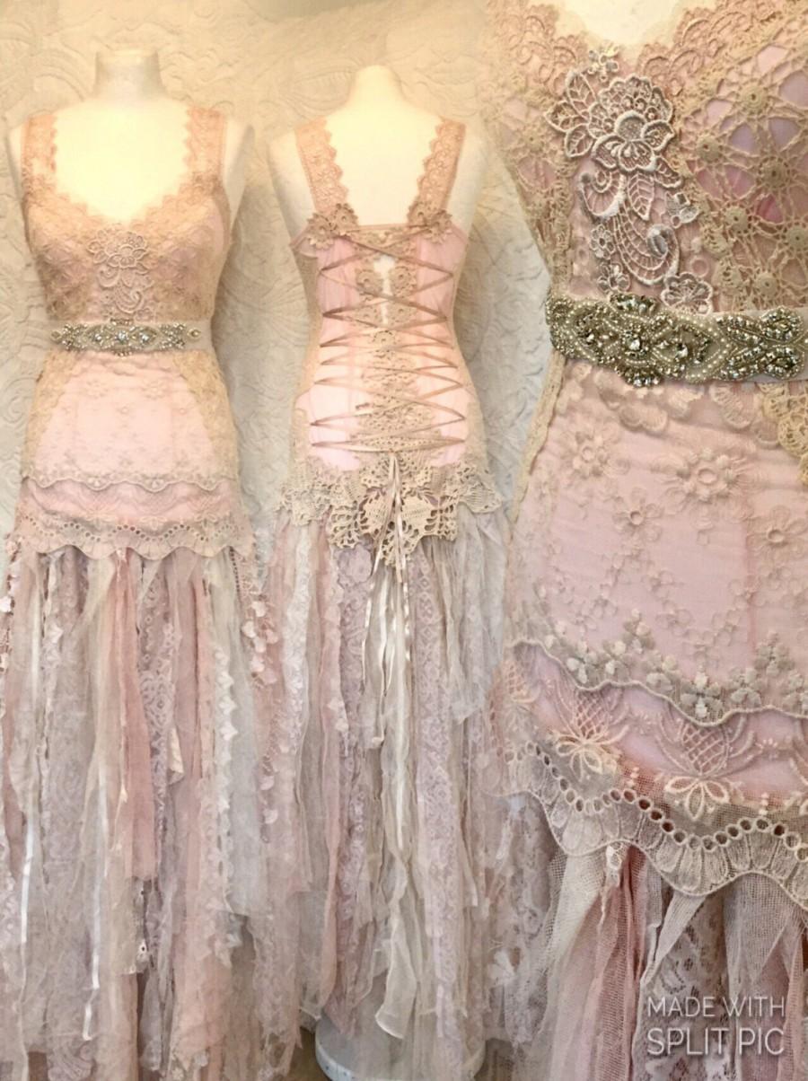 Alternative Wedding Dress Made In Denmark Boho Unique Dressrepurposed Antique Lacerawrags