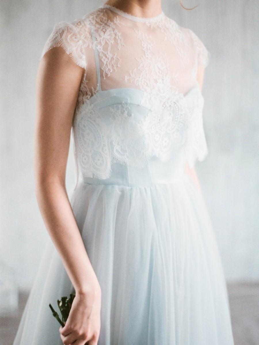 Mariage - Aley - blue corset wedding gown, boho wedding dress with separate lace jacket with cap sleeves, a-line tulle skirt, milamira, straps