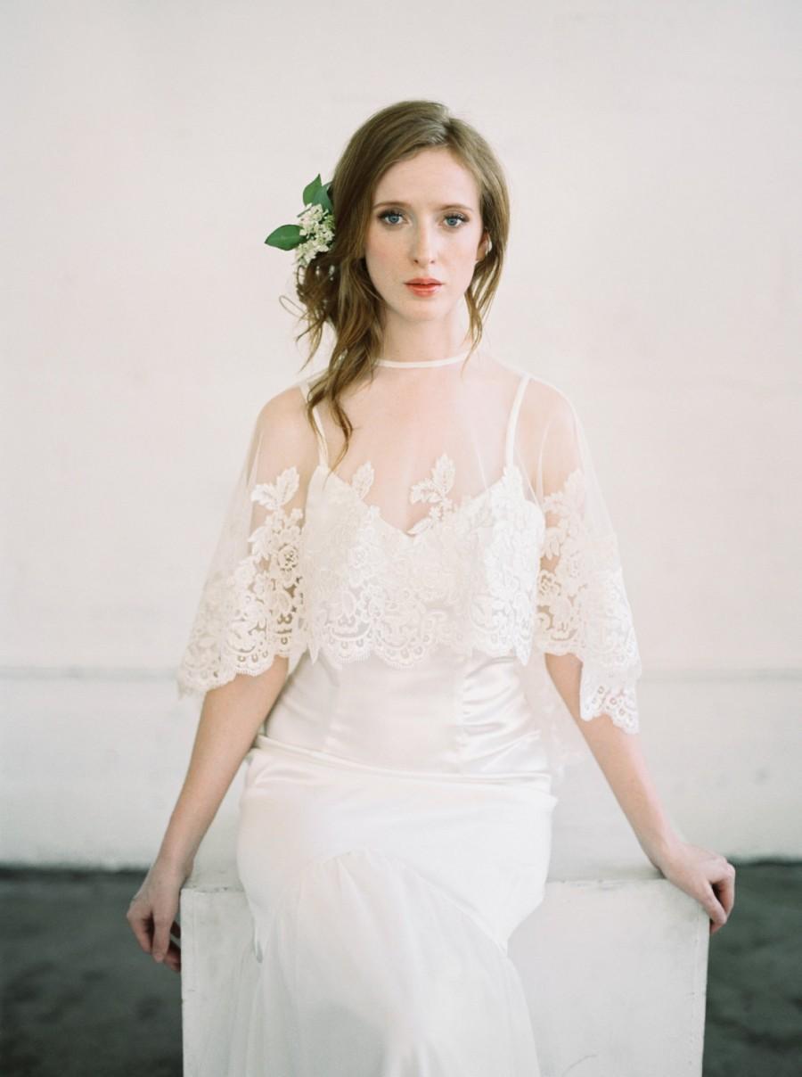 Mariage - Crystabel, Bridal Cape, Bridal Capelet, Bridal Cover Up, Bridal Separates, Cape, Lace Capelet, Bridal Lace Capelet, Lace Cape, Wedding Cape