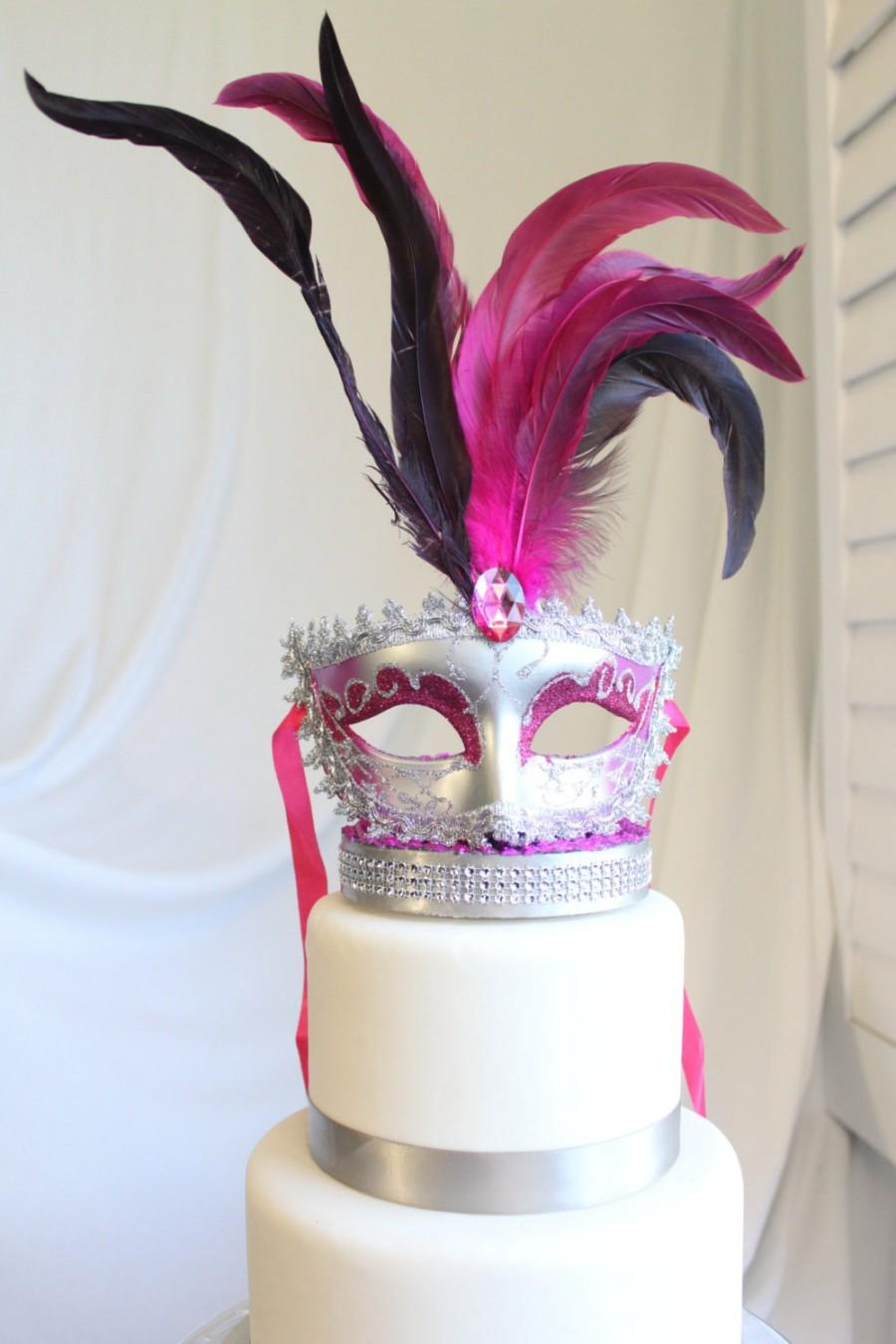 Mariage - Masquerade, Venetian, Mask Cake Topper Pink and Silver, Glitter, French, Carnival, overthetopcaketopper