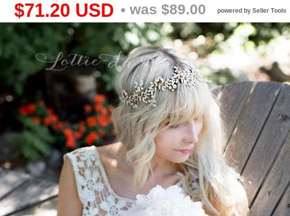Свадьба - 20% OFF Gold Boho Leaf Bridal Hair Vine Wreath, Wedding Pearl Hair Vine Crown, Boho Wedding Headpiece - 'LYRA'
