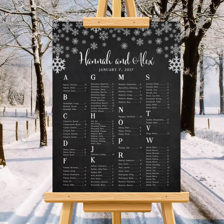 Winter Wedding Seating Chart, Snowflakes, Minimalist Wedding Poster ...