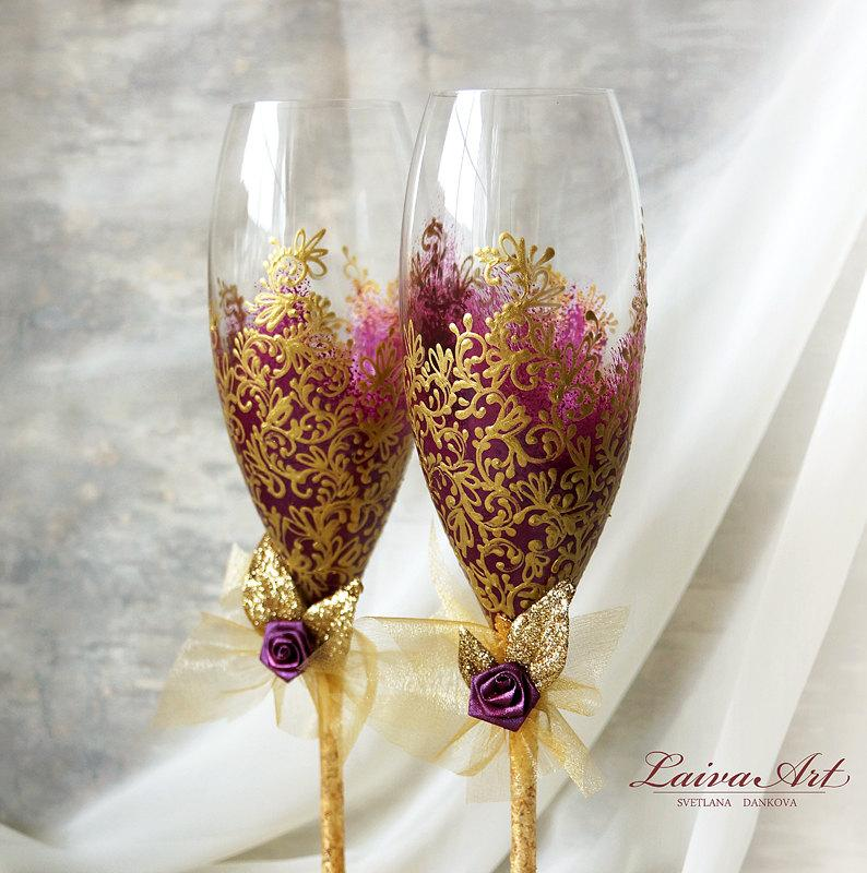 Mariage - Berry Wedding Champagne Glasses Wedding Champagne Flutes Gold Berry Wedding Toasting Flutes Gold Wedding
