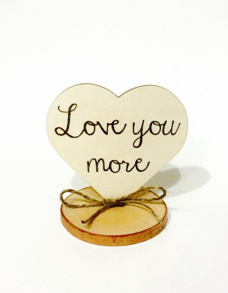 Mariage - Rustic wedding cake topper - love you more - tree slice cake topper