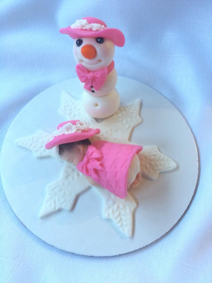 Snowman Baby Cake Topper Girl Winter Wonderland Baby Shower Cake Topper  Fondant Baby Cake Topper Winter Princess Baby Cake Topper