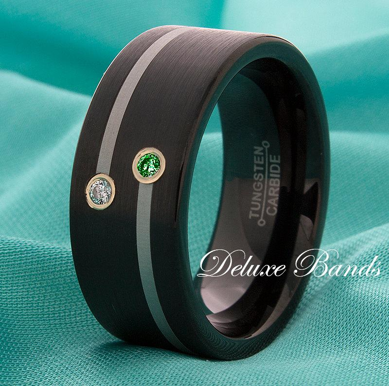 Mariage - Black Tungsten Wedding Band Emerald Diamond Anniversary Ring 9mm Pipe Cut Satin Finished Mens Womens Promise Engagement FREE Laser Engraving