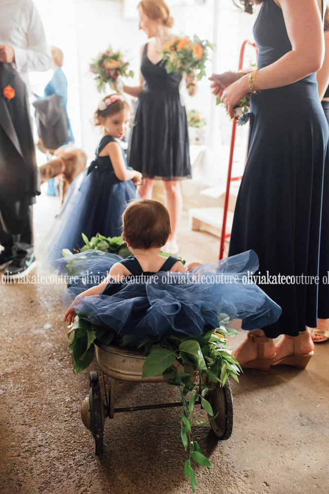 زفاف - Baby Flower Girl Dress Natural Navy dress Mini Flower Girl