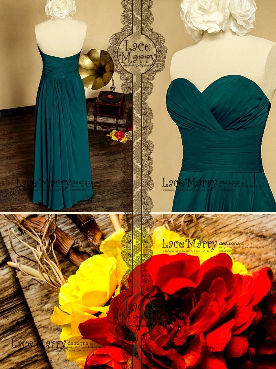 زفاف - Graceful Floor Length Strapless Chiffon Bridesmaid Dress with Cross Ruched Bodice and Sweetheart Neckline Featuring Falling Folds on Skirt