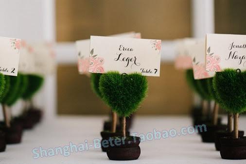 Mariage - Beter Gifts® 歐式創意晚宴結婚佈置小物 尾牙年會席位卡BETER-ZH017/B綠色小盆栽桌卡