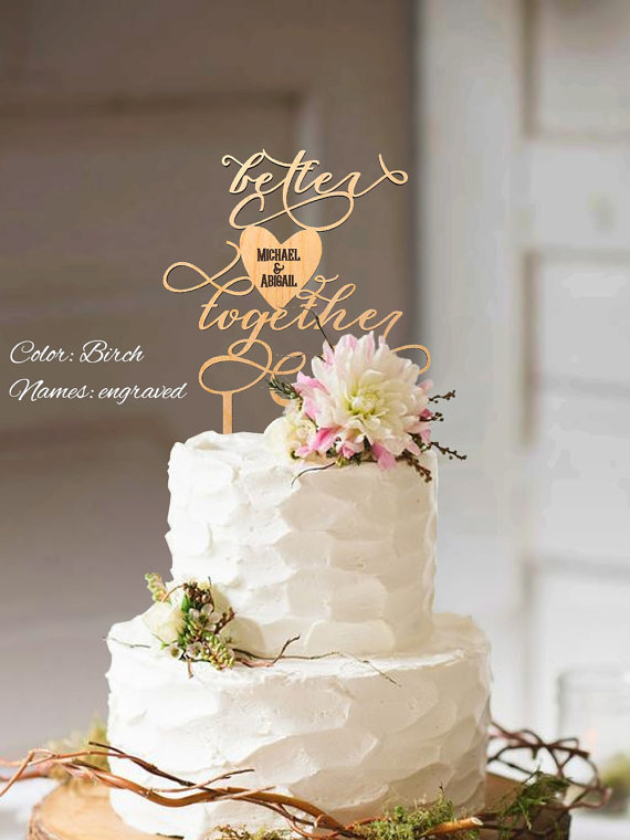 Свадьба - Better Together cake topper. Wedding cake topper Better Together. Wood cake topper for wedding. Better Together wedding cake topper.