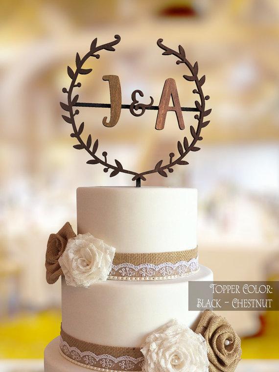 Свадьба - Rustic Cake Topper. Initial cake topper. Monogram cake topper. Gold monogram cake topper. Letter cake topper. Monogram cake topper wedding.