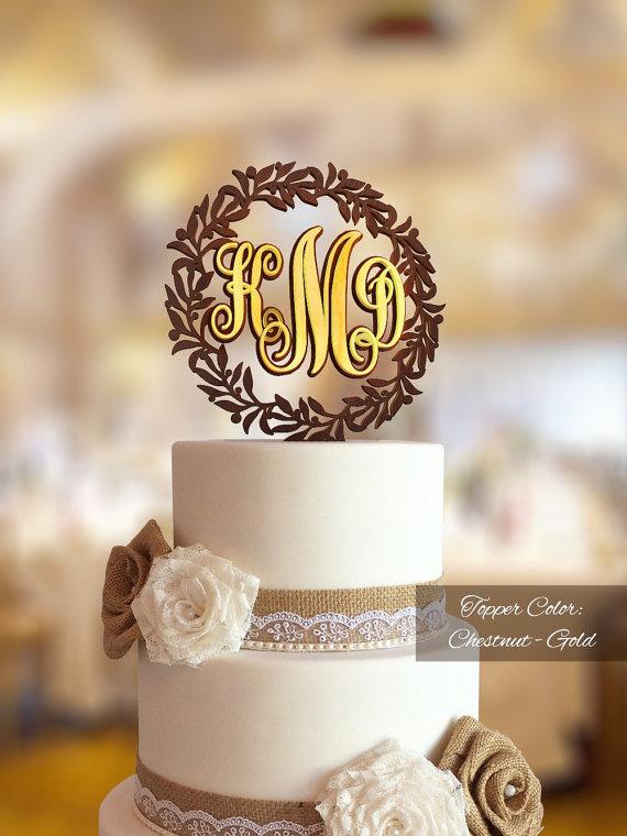 Свадьба - Monogram cake topper. Monogram cake topper wedding. Initial cake topper. Letter cake topper. Gold monogram cake topper. Rustic cake topper.