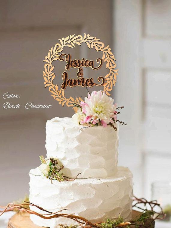 Hochzeit - Cake topper wedding. Rustic wedding cake topper. Wreath Cake Topper. Wedding cake topper rustic. Cake topper rustic wedding.