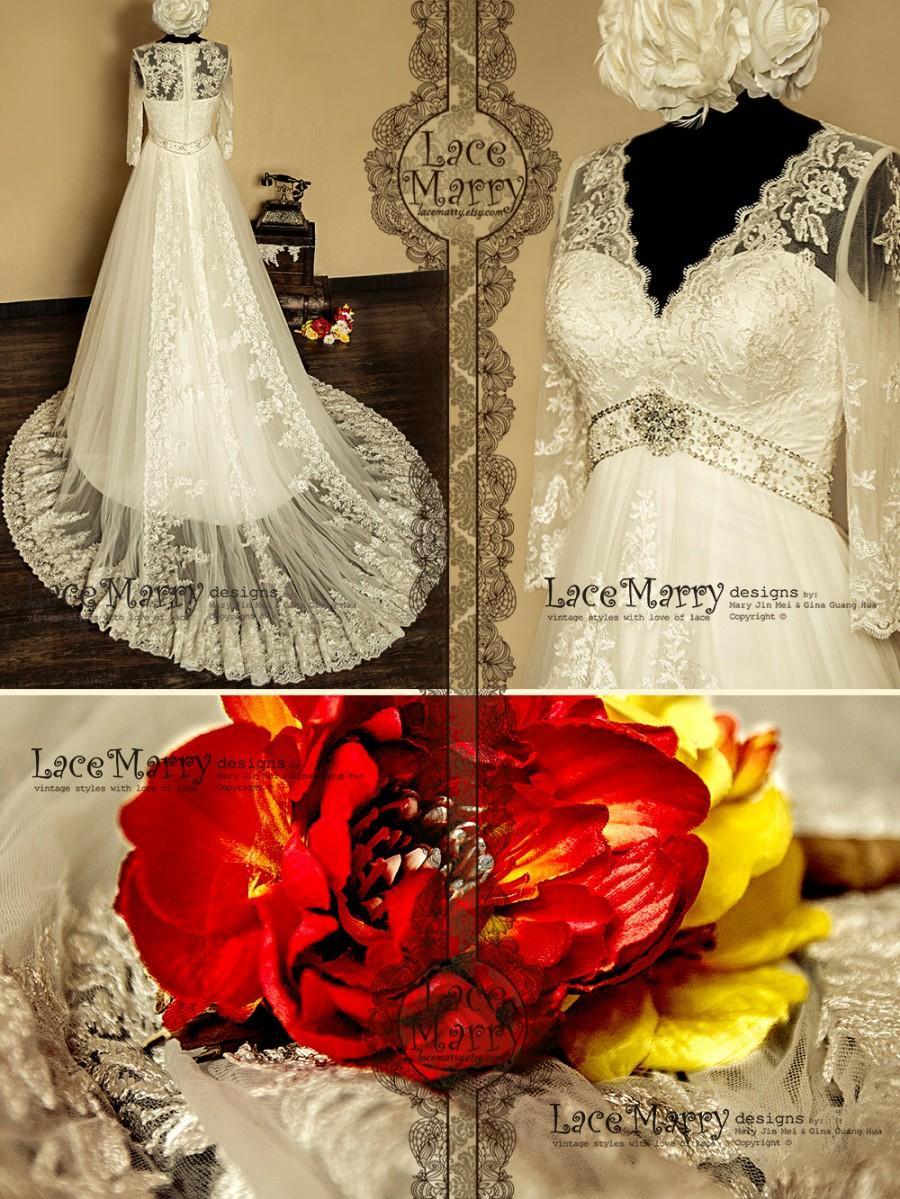 زفاف - Ornate Empire Style Vintage Inspired A-line Lace Wedding Dress with V-cut Illusion Neckline and Sheer Sleeves Featuring Hand Beaded Belt