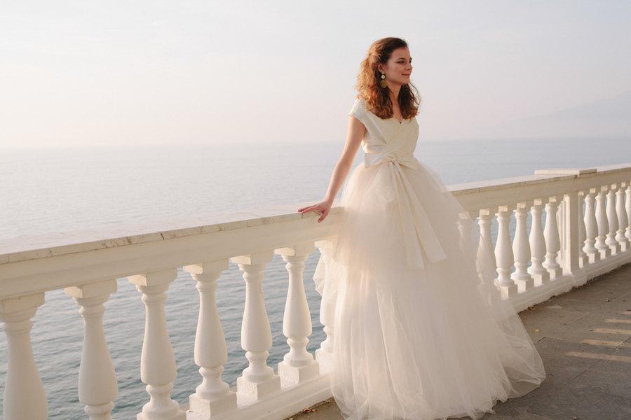زفاف - Long tulle wedding dress, lace tulle wedding gown, long ivory tulle bridal gown, beaded lace wedding dress, asymmetrical tulle wedding gown