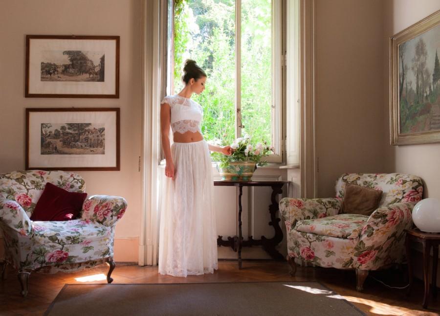 زفاف - Long bohemian bridal skirt, lace wedding skirt, boho wedding skirt, ivory wedding skirt, lace wedding separates, beach wedding skirt