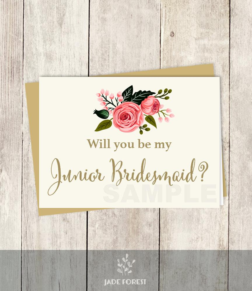 Wedding - Be My Junior Bridesmaid // Will You? // Wedding Card DIY // Watercolor Flower // Gold Calligraphy, Rose // Printable PDF ▷ Instant Download