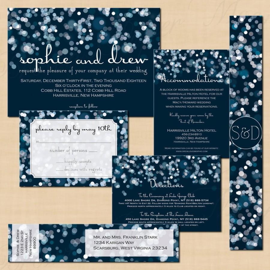 sparkly stars on water blue invitation rsvp inserts address label