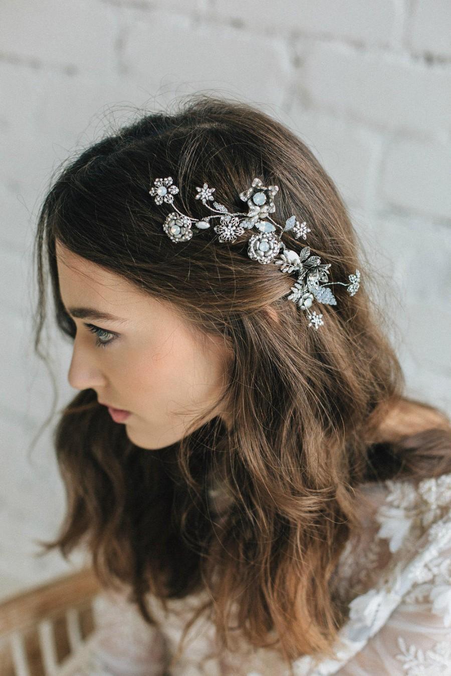 Wedding - Wedding Hair Accessories , Bridal Hair Flower, 3D Floral Hair Comb , Wedding Hair Piece , Large Bridal Comb, Bridal Opal Hair Accessory