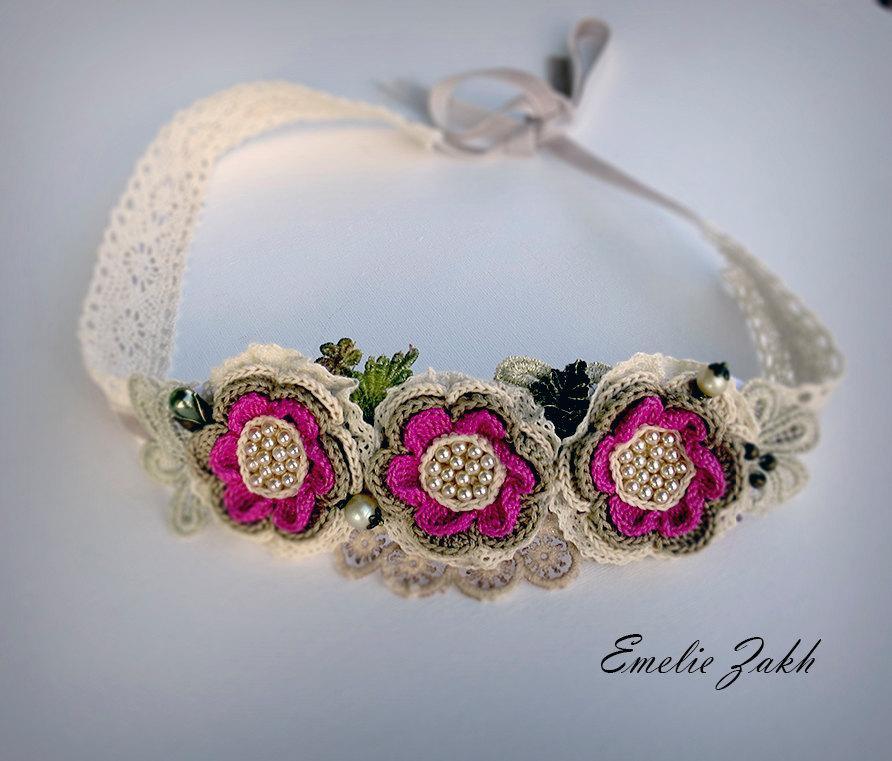 Hochzeit - Headband jewelry hair  crochet,pink flowers hair accessory Boho ,romantique style  crochet headband,bohemian chic, hair jewelry headband.