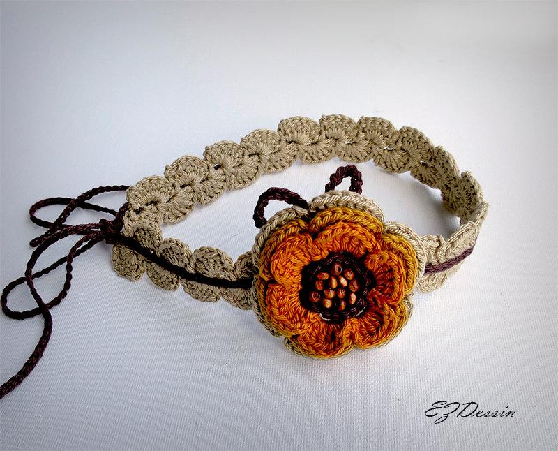 Mariage - Headband jewelry hair  crochet,yellow flowers hair accessory Boho ,romantique style  crochet headband,bohemian chic, hair jewelry headband.