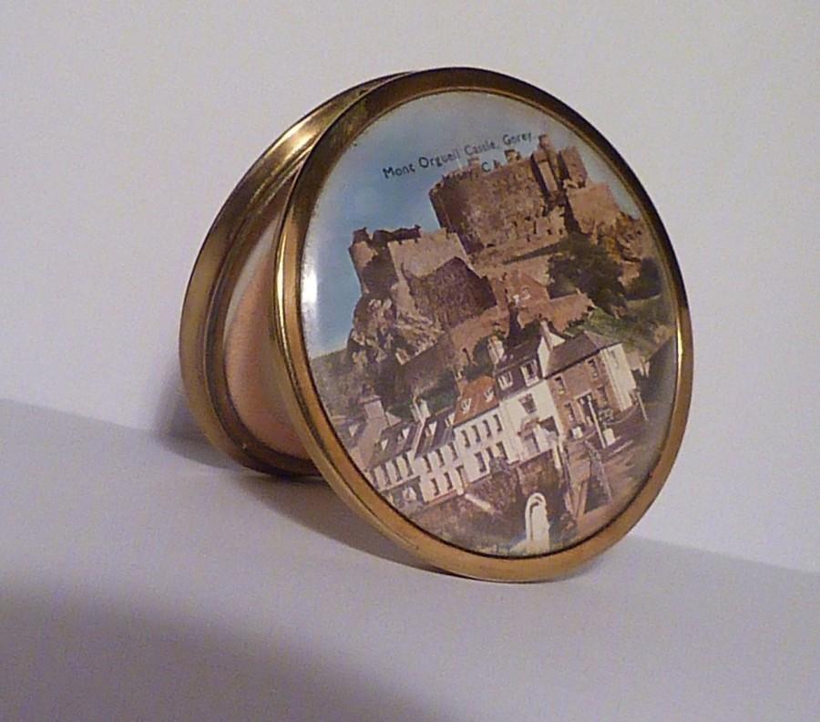 1950s Mascot Powder Compact Showing Mont Orgueil Castle Jersey Uk Pocket Mirror Handbag Purse