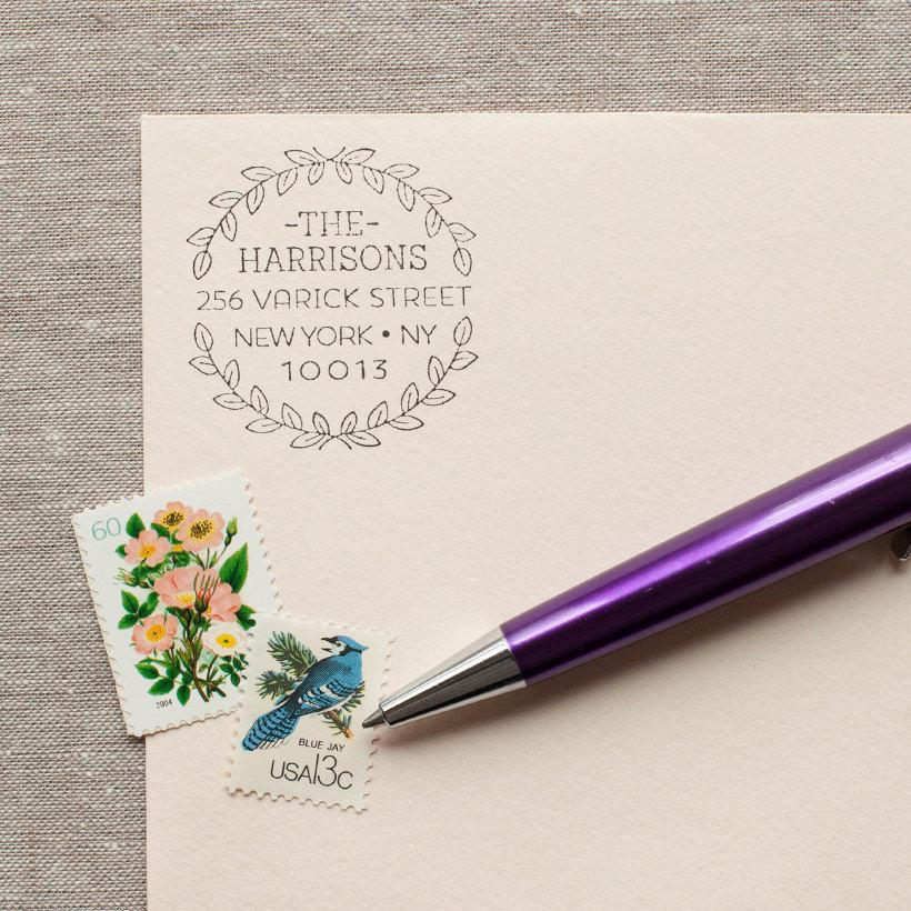 Mariage - Self-Inking Address Stamp WREATH LEAF Design return address stamp  or wood handle stamp - modern feminine design wedding stamp