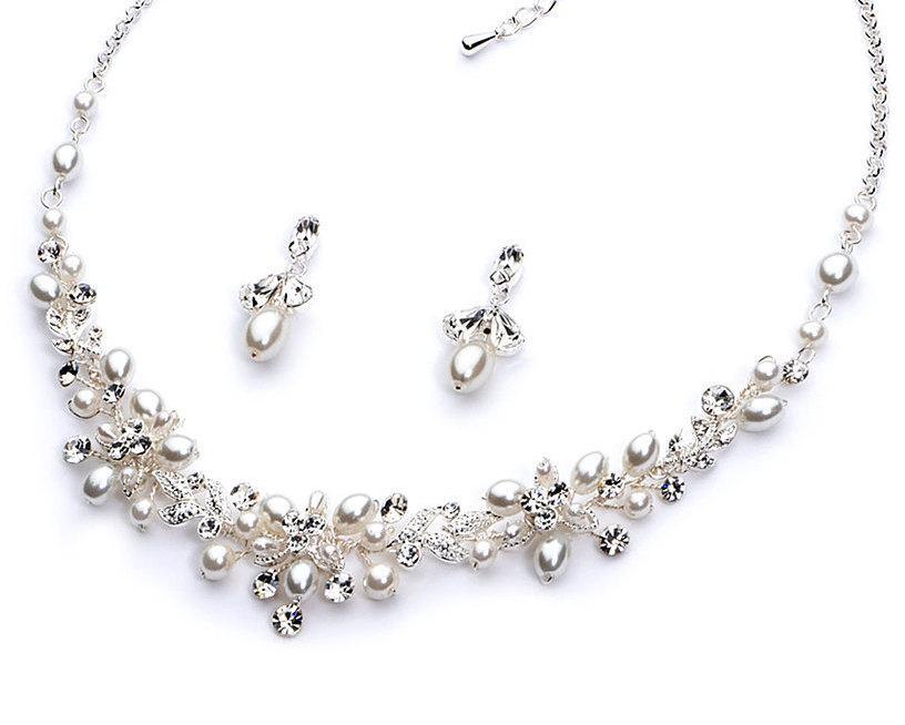 Wedding - Stunning Bride,Pearl Accessories,Rhinestone Jewelry Set, Bridal Accessories, Elegant Bridal Jewelry Set, Delicate Pearl Jewelry Set ~JS-1637