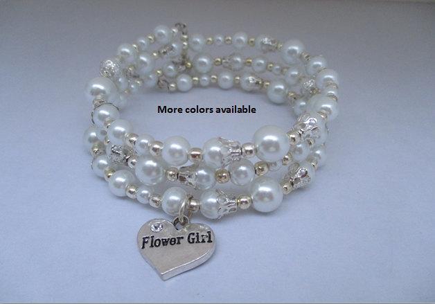 Wedding - Flower Girl Expandable Multi-Layer Pearl & Charm Bracelet-flower girl gift-gift for flower girl-wedding shower jewelry, B364