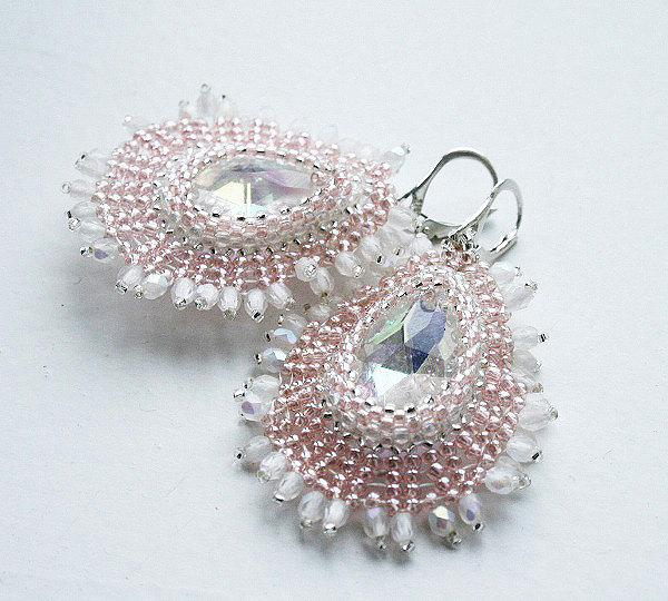 Wedding - bridal earrings, wedding jewelry, dangle earrings, beaded earrings, seed bead earrings, seed bead jewelry, beadwork, for her, as a gift
