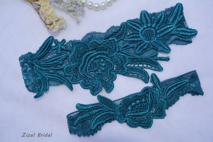 Wedding - Teal Blue Garter, Unique Bridal Garter, Blue Garter Set, Lace Bridal Garter, Bridal Garters, Handmade Garter, Something Blue, Toss Garter