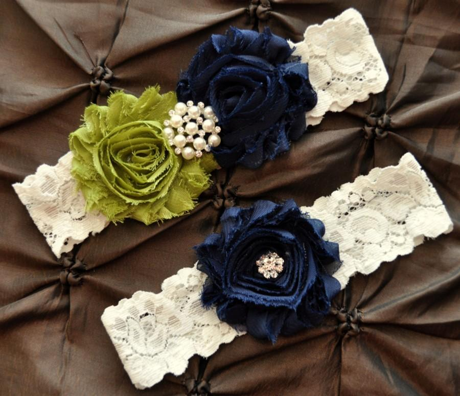Hochzeit - Wedding Garter Set, Bridal Garter Set - Ivory Lace Garter, Keepsake Garter, Toss Garter Shabby Chiffon Ivory Navy Blue Olive Something Blue