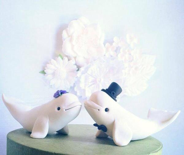 Wedding - Beluga Whale Wedding Cake Topper handmade
