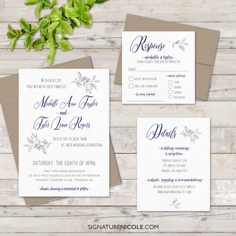Rustic BoHo Wedding Invitation With RSVP And Detail Cards - QUICK ...
