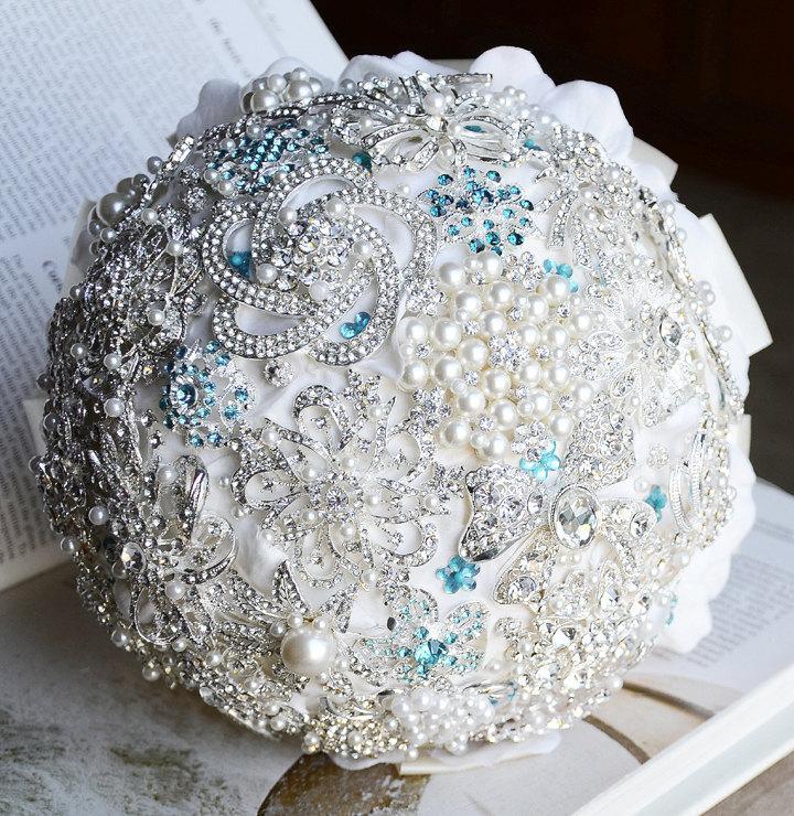 Mariage - Wedding Brooch Bouquet Bridal Brooch Bouquet Crystal Rhinestone Brooch Bouquet Teal Blue Aqua Blue Ivory Something Blue BB034LX