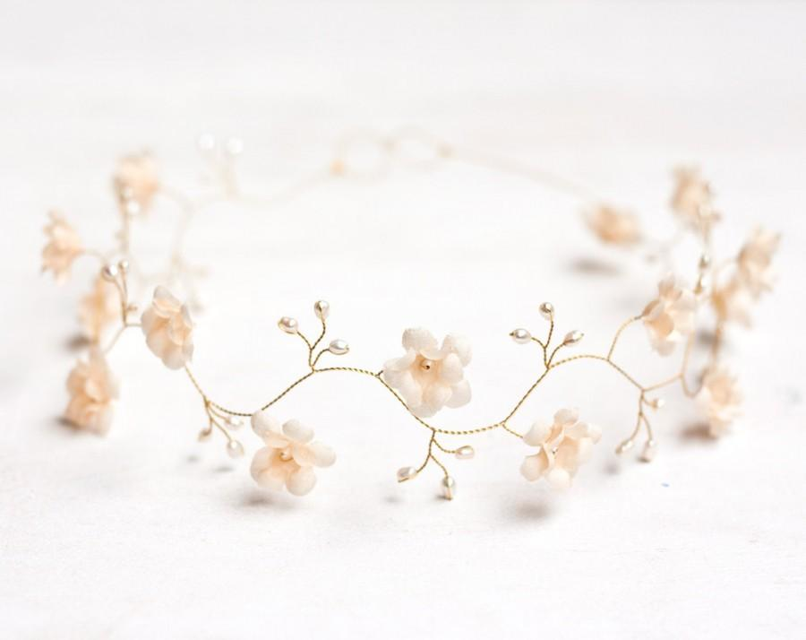 Hochzeit - 52_Wedding headband, Floral tiara pearl, Headband, Bridal headband, Wedding hair accessories, Floral tiara pearl, Headband bridesmaids, Halo