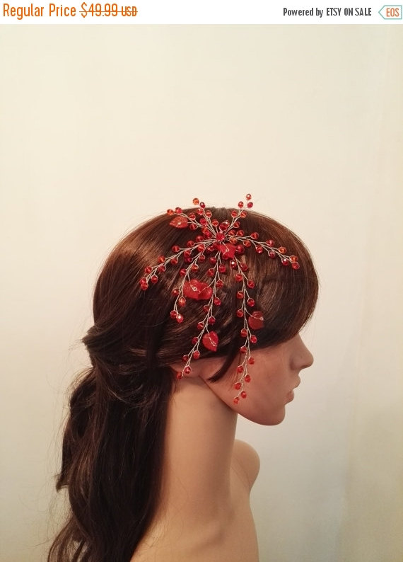 Hochzeit - Christmas Sale 25% OFF Bridesmaid flower headpiece, bridesmaid fascinator hair piece, bridesmaid hair accessories, red fascinator headband,