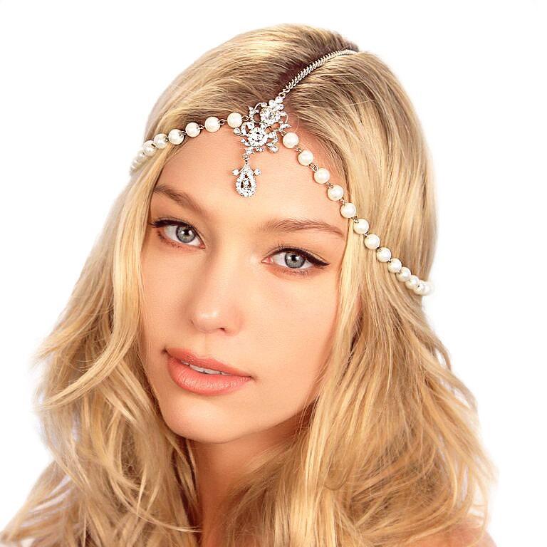 زفاف - Pearl Chain Headpiece / Bridal Pearl Headpiece / Gatsby Headpiece / Crystal Chain Headpiece / Kristin Perry