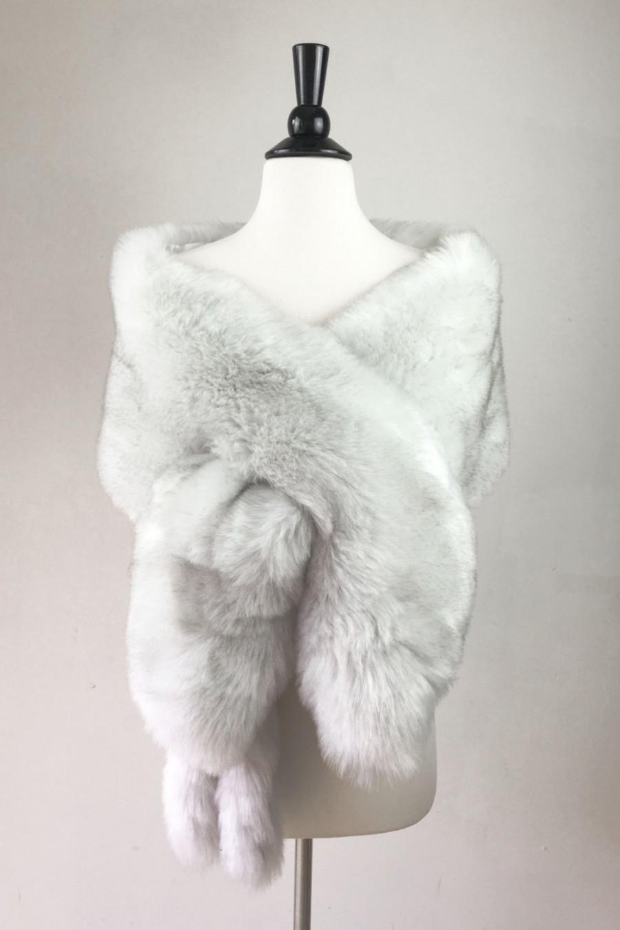 Wedding - light gray fur shawl, Ivory fur bridal wrap, Wedding Fur shrug, faux Fur Wrap, Bridal Faux Fur Stole Fur Shawl Cape, wedding faux fur wrap